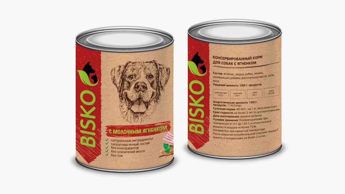 Консервированный корм для собак с молочным ягненком